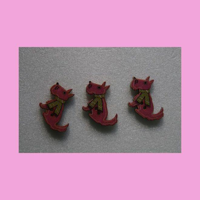 Knöpfe Foxterrier pink