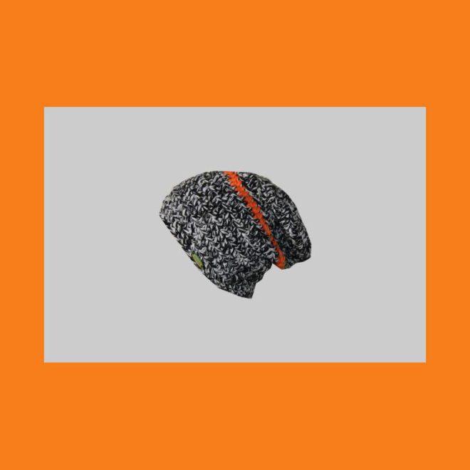 Beanie orange-schwarz-weiß